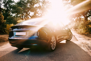 image of electric vehicle at sunset
