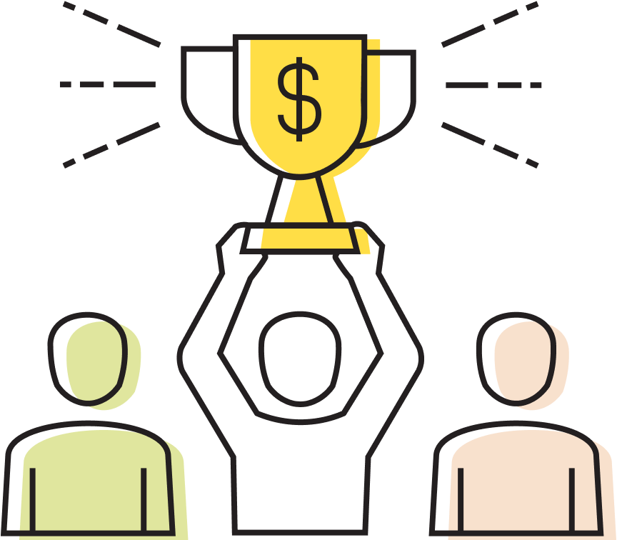 Icon showing someone winning grant money as a prize